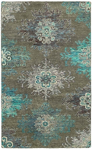 LR Resources Nisha 04410 Teal Rug