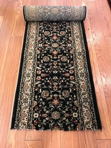 Montgomery Black - 26 Inch Wide Finished Runner - Price is Per Foot