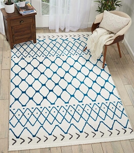 Nourison Kamala DS500 White Blue Rug