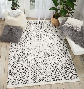 Nourison Kamala DS502 White Black Rug