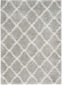 Nourison Luxe Shag LXS02 Grey Ivory Rug
