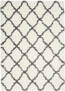 Nourison Luxe Shag LXS02 Ivory Charcoal Rug