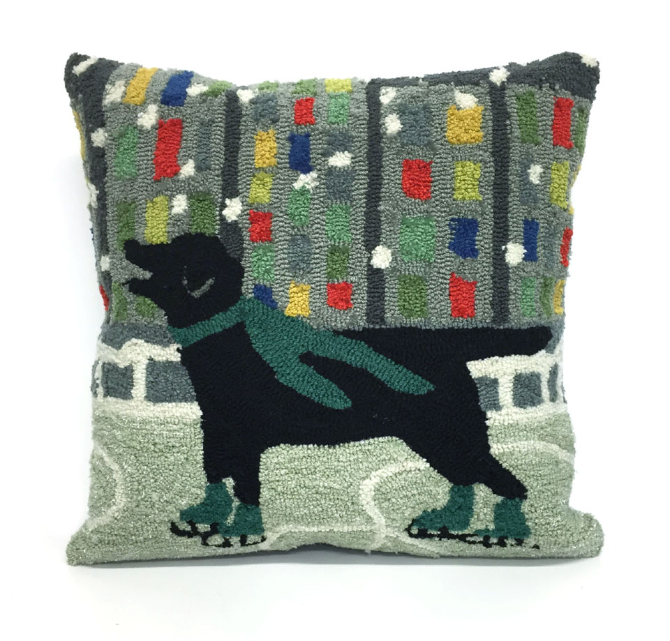 TransOcean Holiday Ice Dog Green Pillow