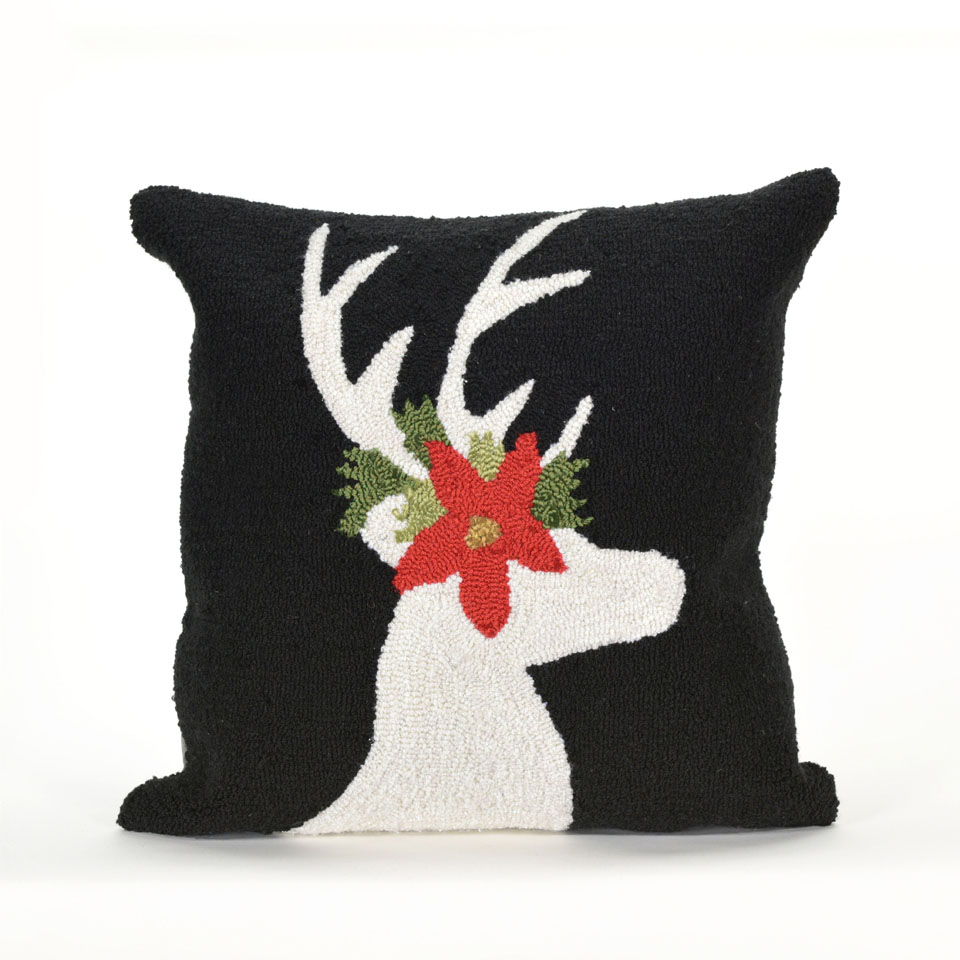 TransOcean Reindeer Black Pillow