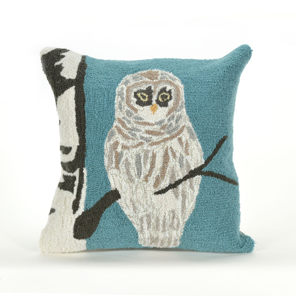 TransOcean Snowy  Owl Blue Pillow