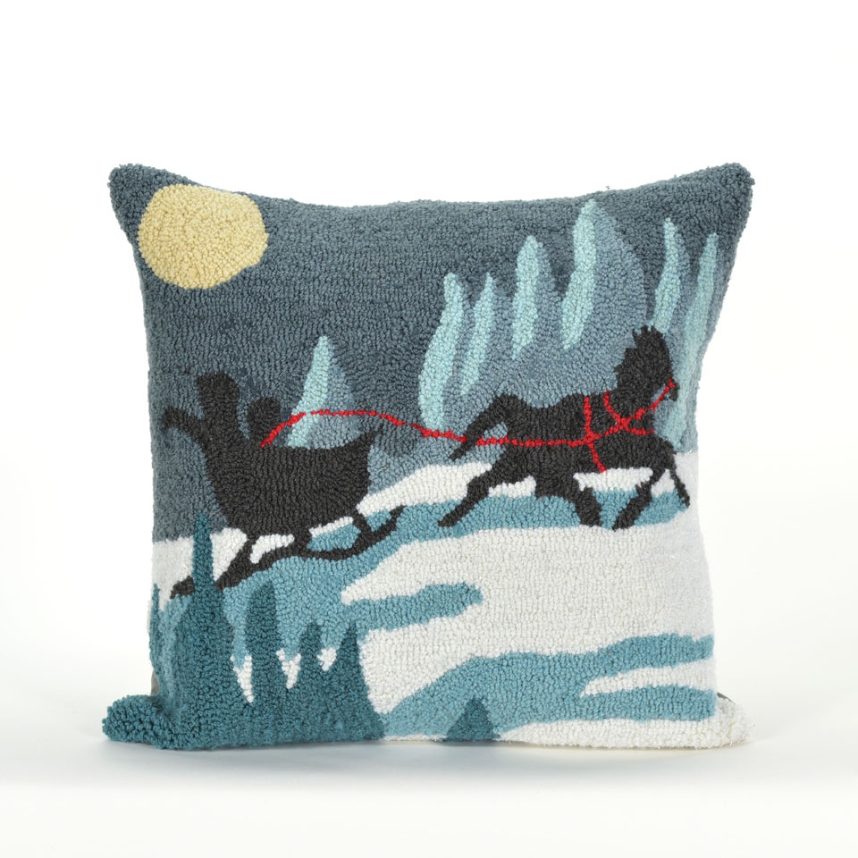 TransOcean Sleigh Ride Blue Pillow
