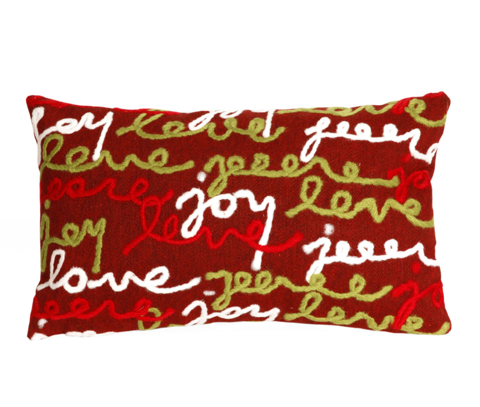 TransOcean Peace Love Joy Red Pillow
