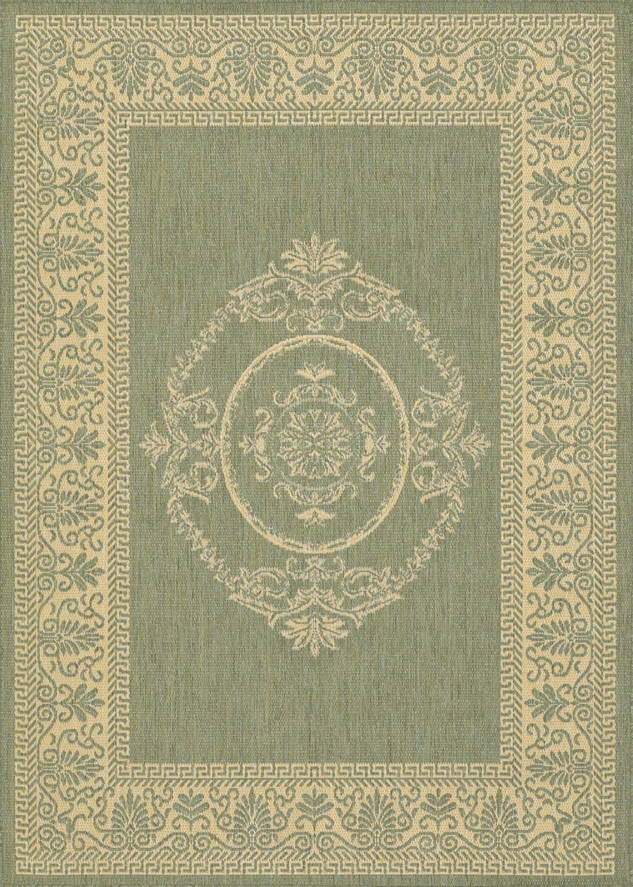 Couristan Recife 1078/1812 Antq Medallion Green/Natural Rug