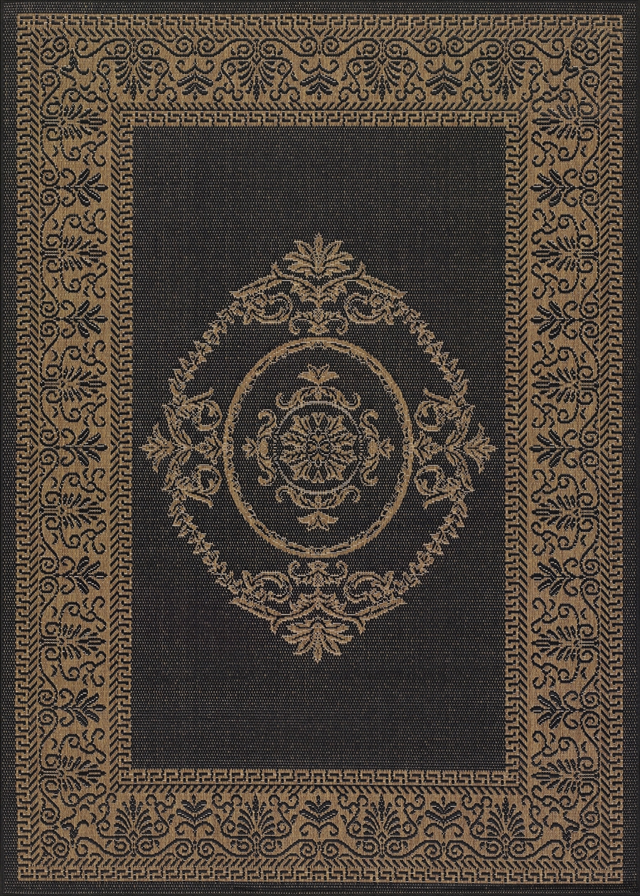 Recife Collection by Couristan: Antique Medallion Black Cocoa 1078/3115 Recife Outdoor Rug by Couristan