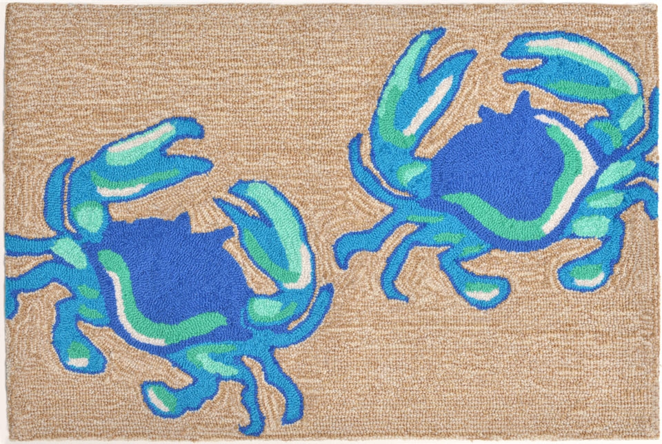 Trans-Ocean Frontporch 1404/03 Crabs Blue Area Rug