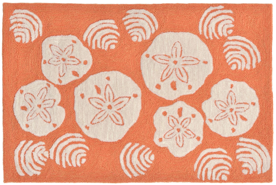 Trans-Ocean Frontporch 1408/18 Shell Toss Coral Area Rug