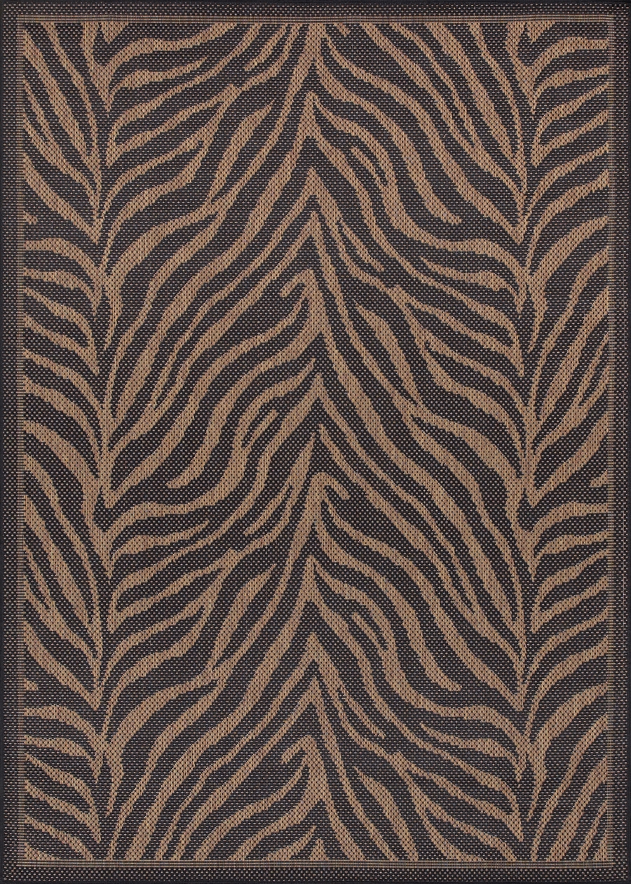 Recife Collection by Couristan: Zebra Black Cocoa 1514/0121 Recife Outdoor Rug by Couristan