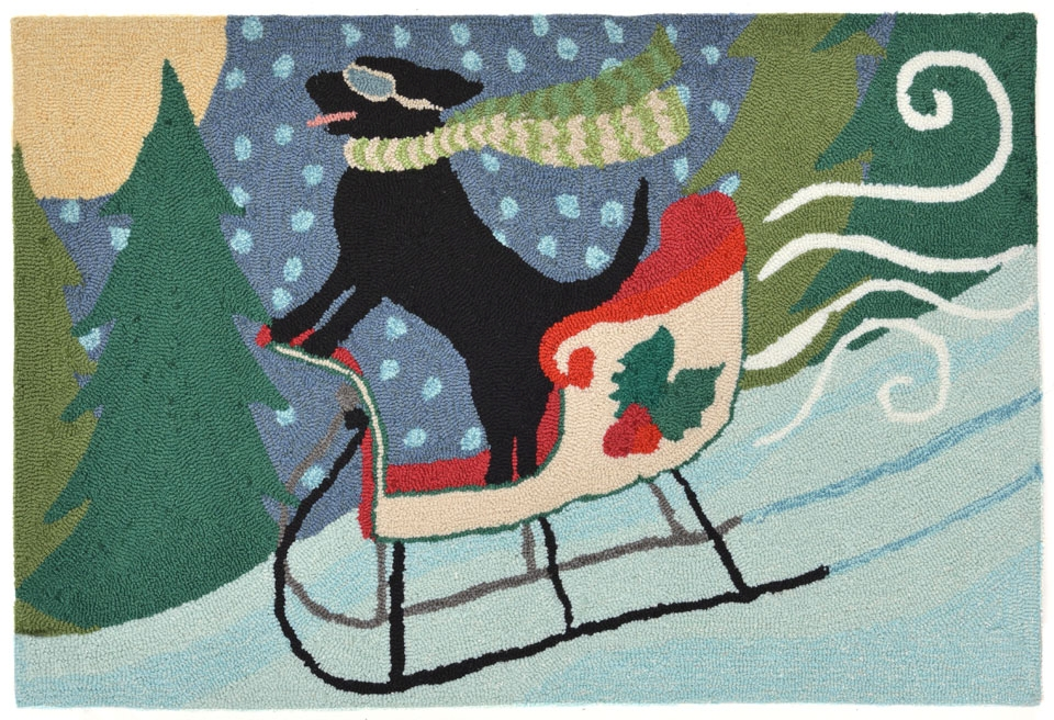 Transocean Frontporch 1564/44 Sledding Dog Multi Rug