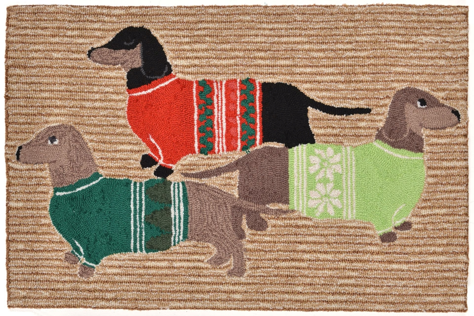 Transocean Frontporch 1566/12 Holiday Hounds Neutral Rug