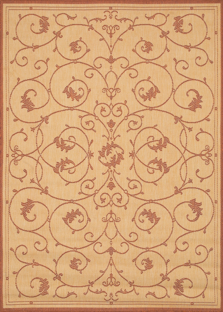 Recife Collection by Couristan: Veranda Natural TerraCotta 1583/1112 Recife Outdoor Rug by Couristan