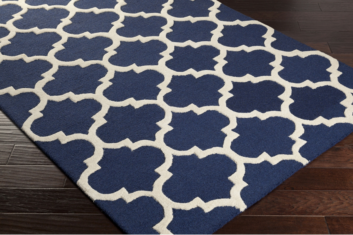 Navy Trellis Rug 100 Wool Navy White Area Rug
