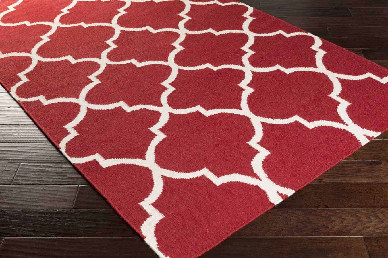 Red And White Area Rug Hand Woven Rug For Sale