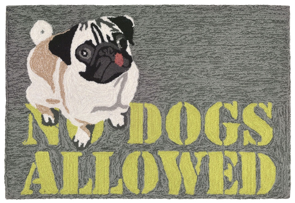 Transocean Frontporch 1801/47 No Dogs Allowed Grey Rug
