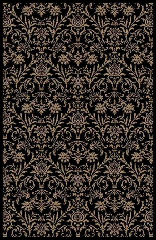 Concord Jewel 4943 Damask Black Area Rug