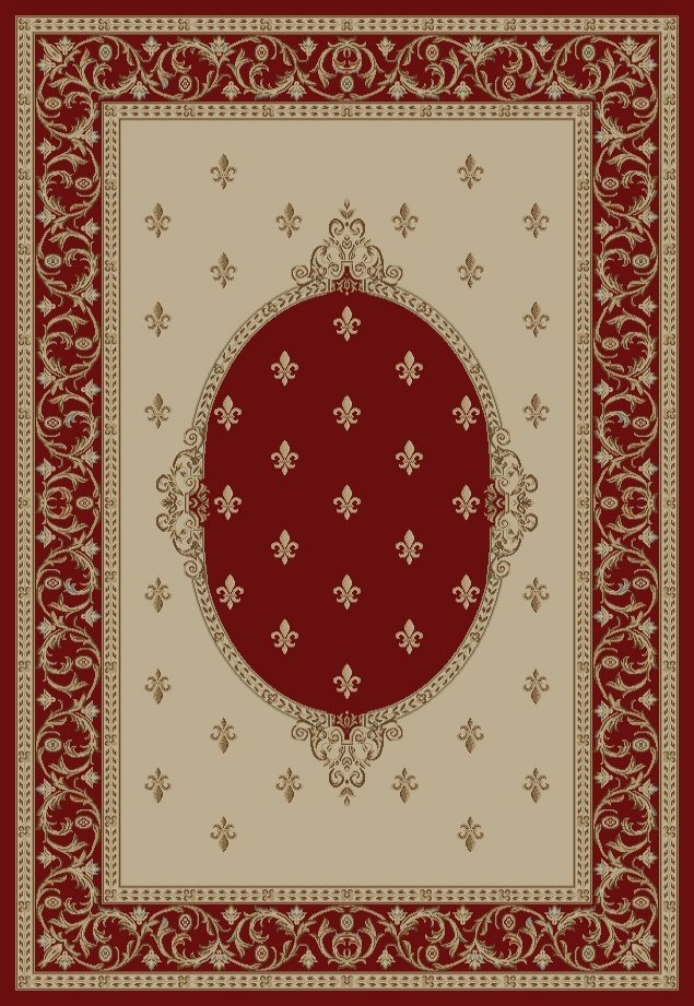Concord Jewel 6310 Fleur De Lys Meddallion Red Area Rug