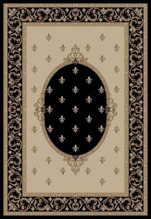 Concord Jewel 6313 Fleur De Lys Meddallion Black Area Rug