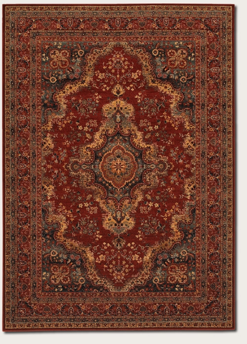 Kerman Medallion Burgundy 1067/3097 Old World Classics Rug by Couristan