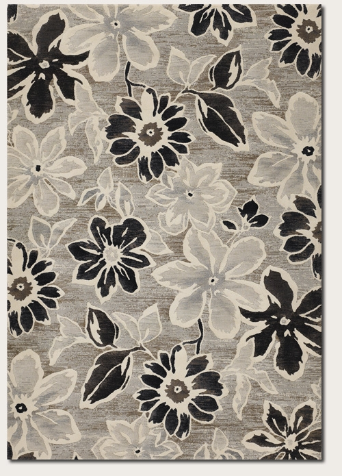 Wild Daisy Grey/Black/White 6351/5313 Everest Rug by Couristan