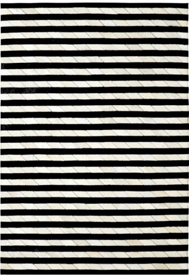 Ivory Black 8105 190 Leatherwork Rug By Dynamic