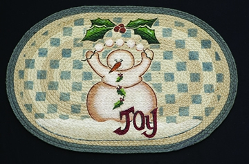 Licensed Art 703 Snowman Joy 100% Jute Earth Rugs
