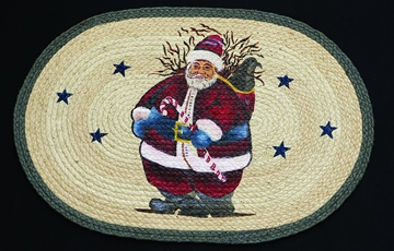 Licensed Art 709 Santa Candy Cane 100% Jute Earth Rugs