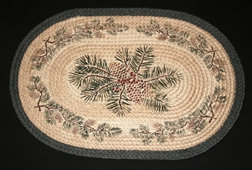Hand Printed Oval 317 Pinecone Red Berry 100% Jute Earth Rugs