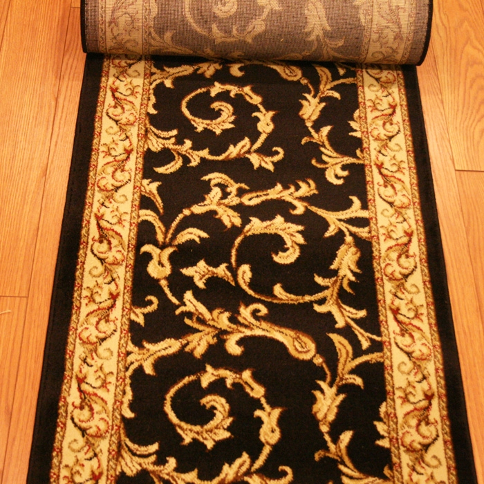 Fairfax Black Scroll - 26 Inch Wide Finished Runner - Price is Per Foot