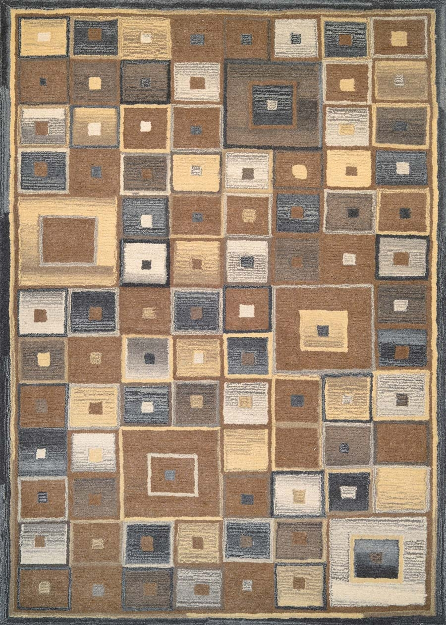 Couristan Super Indo Natural 2149/0004 Abstract Squares Brown Rug