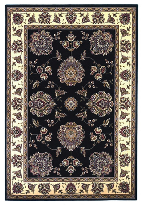 Cambridge 7339 Black/Ivory Floral Mahal Rug by Kas
