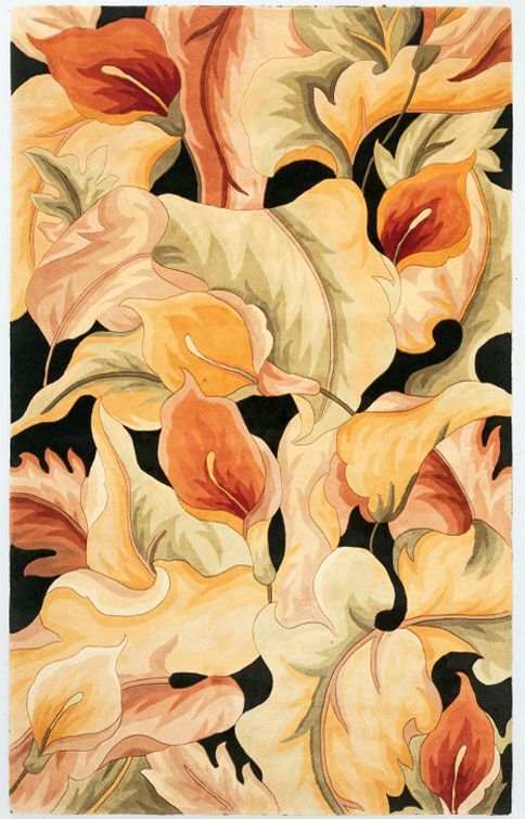 Catalina Calla Lillies 759 Black Rug by Kas