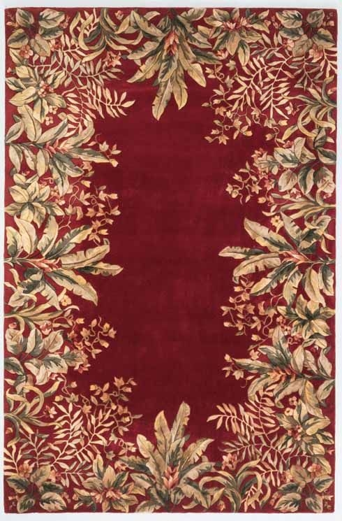 Emerald Tropical Border 9017 Ruby Rug by Kas