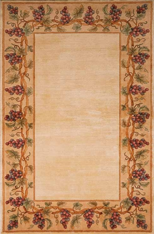 Emerald Grapes Border 9058 Ivory Rug by Kas
