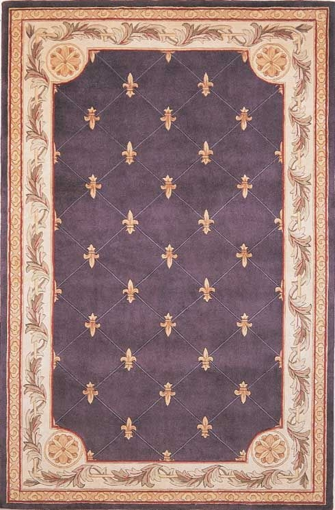 Jewel Fleur De Lis 312 Grape Rug by Kas
