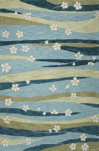 Milan 2129 Blue/Green Springtime Rug by Kas