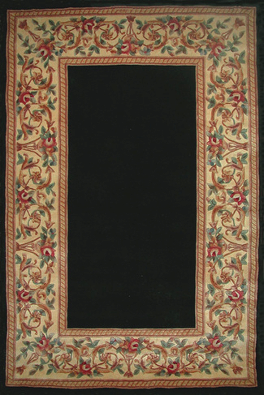 Kas Ruby 8941 Black Floral Border Rug