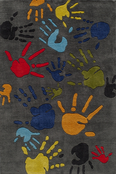 Lil Mo Whimsy LMJ-17 Fingerpaint Grey Rug by Momeni