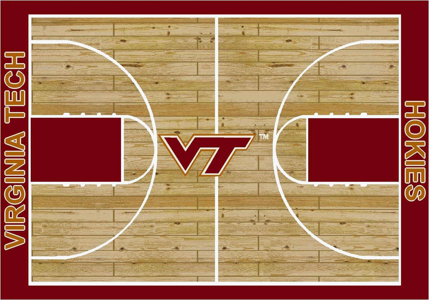 College Basketball Court Virginia Tech 100 Stainmaster