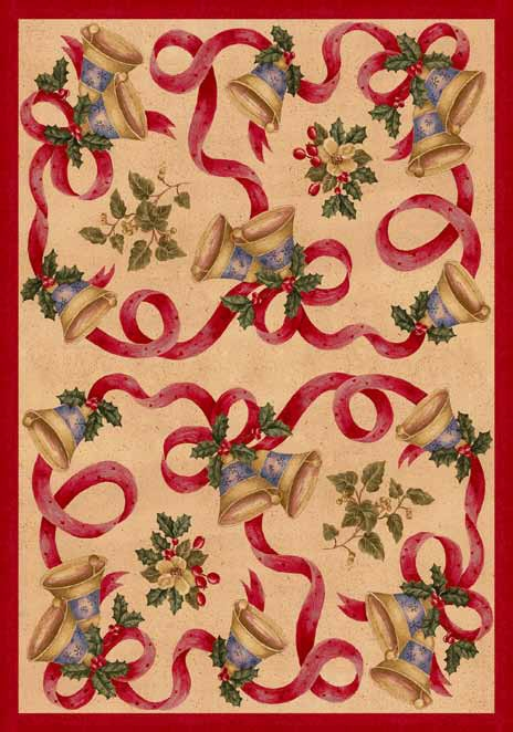 Seasonal Inspirations 534533-0015 Bells And BowsŸ?? 100% Nylon Fiber Machine Made Milliken Rugs On Sale