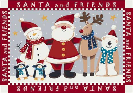Seasonal Inspirations 534533-0235 Santa And FriendsŸ?? 100% Nylon Fiber Machine Made Milliken Rugs On Sale