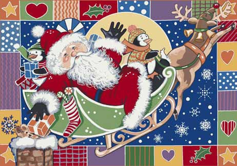 Seasonal Inspirations 534533-0276 Patchwork SantaŸ?? 100% Nylon Fiber Machine Made Milliken Rugs On Sale