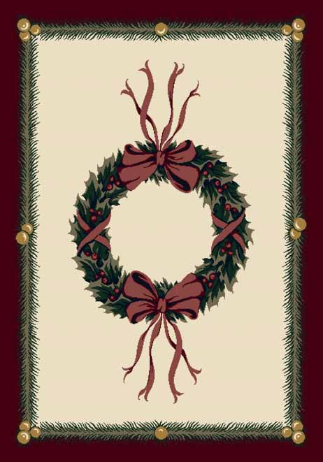 Seasonal Inspirations 534533-0550 Holiday WreathŸ?? 100% Nylon Fiber Machine Made Milliken Rugs On Sale