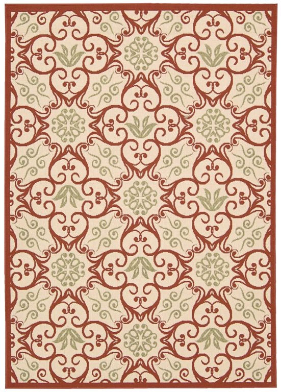 Nourison Caribbean CRB02 Ivory Rust Area Rug