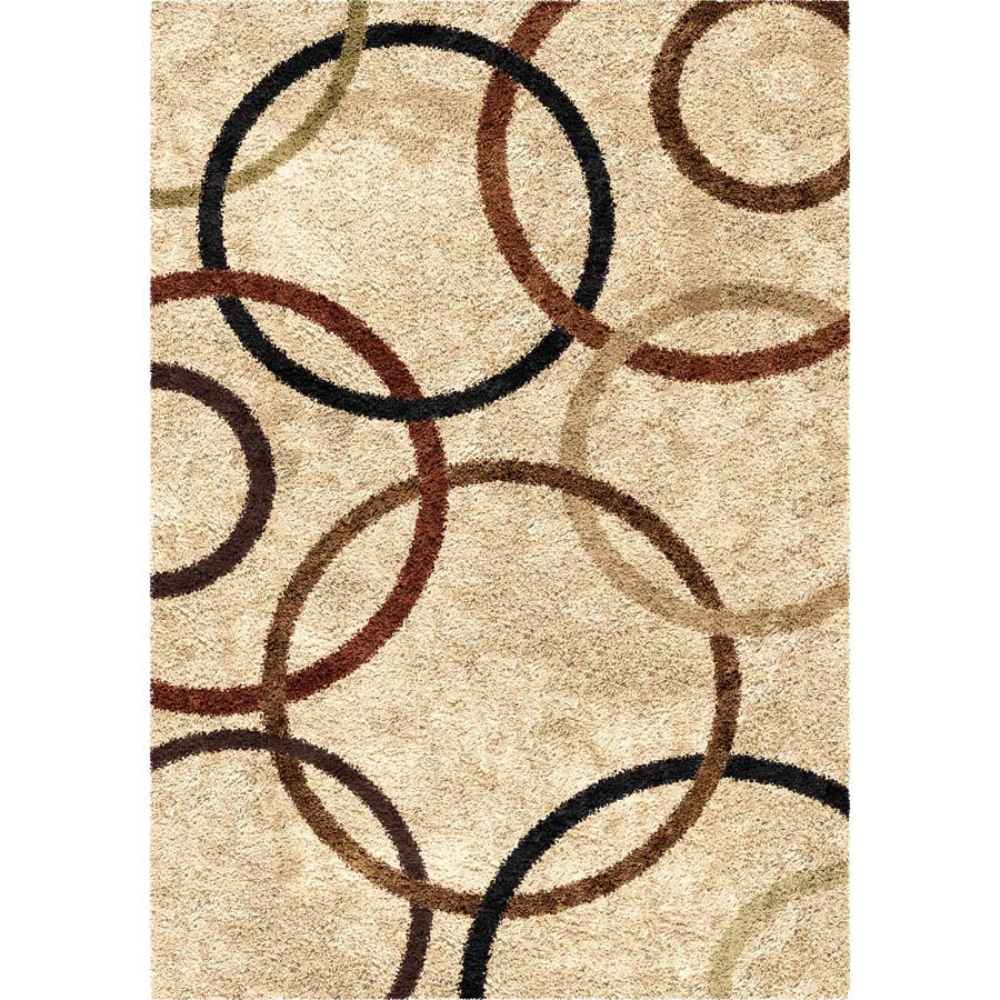 Area Rug With Circles Design Neutral