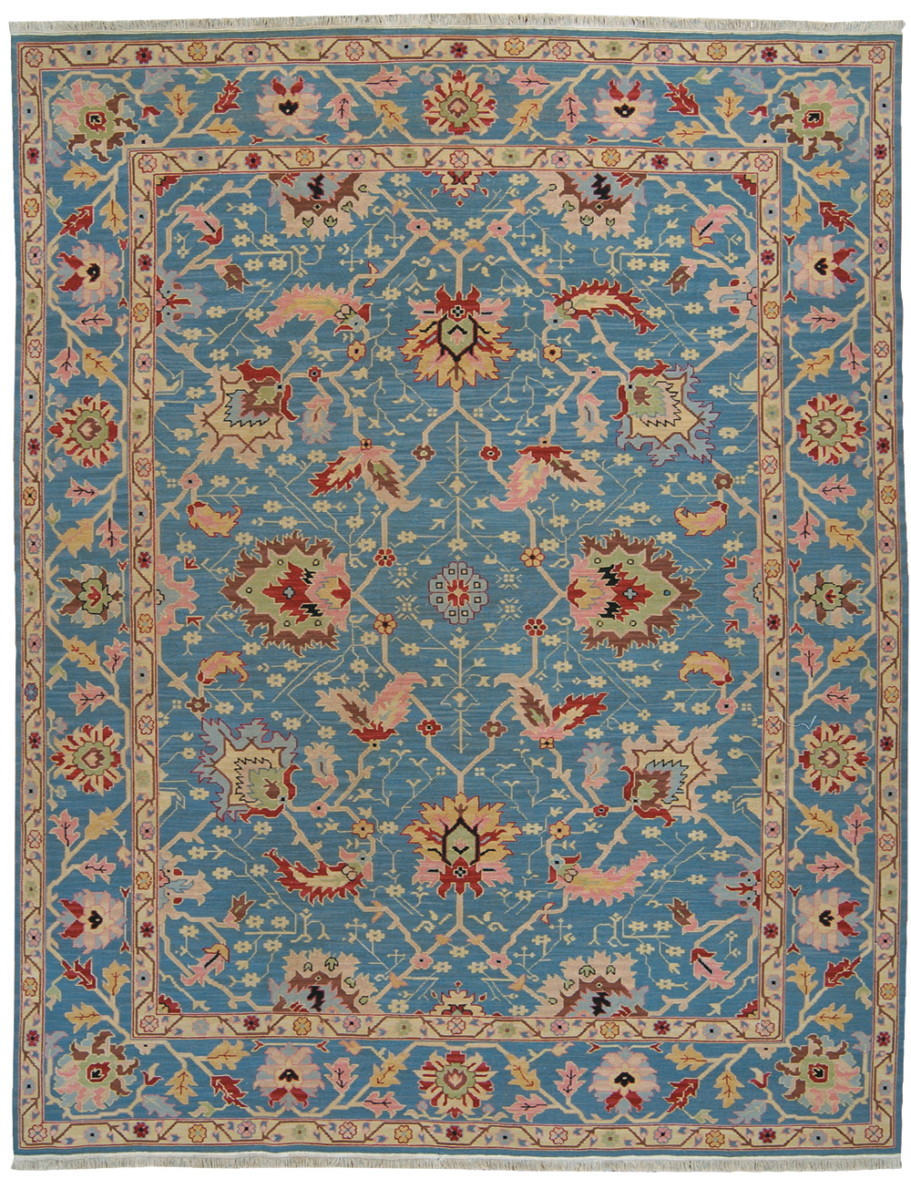 Grand Antiquities GA172 Blue Oushak Hand Knotted Flat Weave 100% Wool Payless Rugs