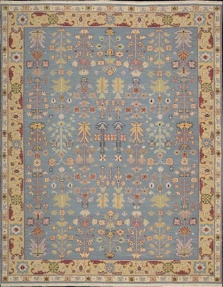 Grand Antiquities GA92 Blue Hand Knotted Flat Weave 100% Wool Payless Rugs